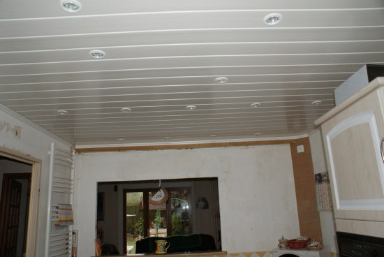 Lambris pvc plafond pas cher for Pose d un lambris bois au plafond